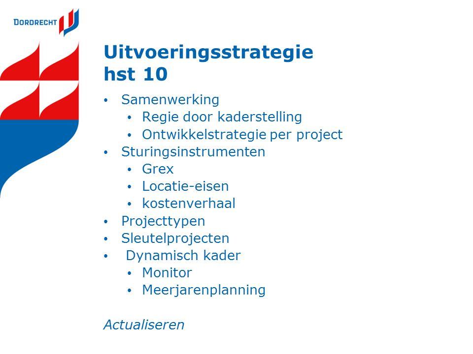 Uitvoeringsstrategie hst 10 Samenwerking Regie door kaderstelling Ontwikkelstrategie per project Sturingsinstrumenten Grex Locatie-eisen kostenverhaal Projecttypen Sleutelprojecten Dynamisch kader Monitor Meerjarenplanning Actualiseren