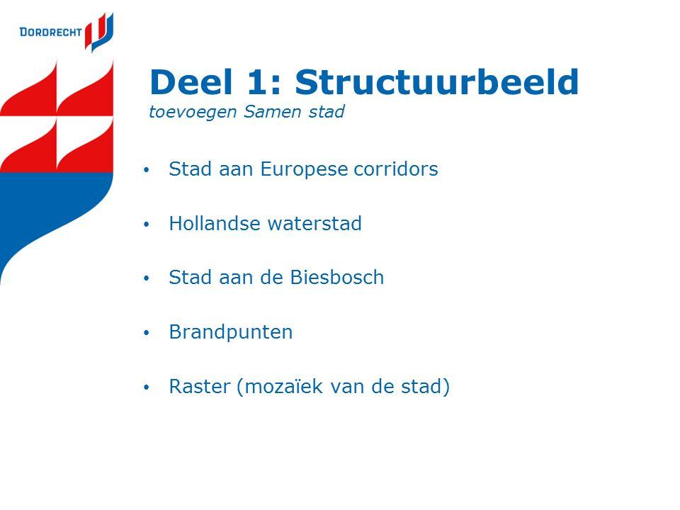 Deel 1: Structuurbeeld toevoegen Samen stad Stad aan Europese corridors Hollandse waterstad Stad aan de Biesbosch Brandpunten Raster (mozaïek van de stad)