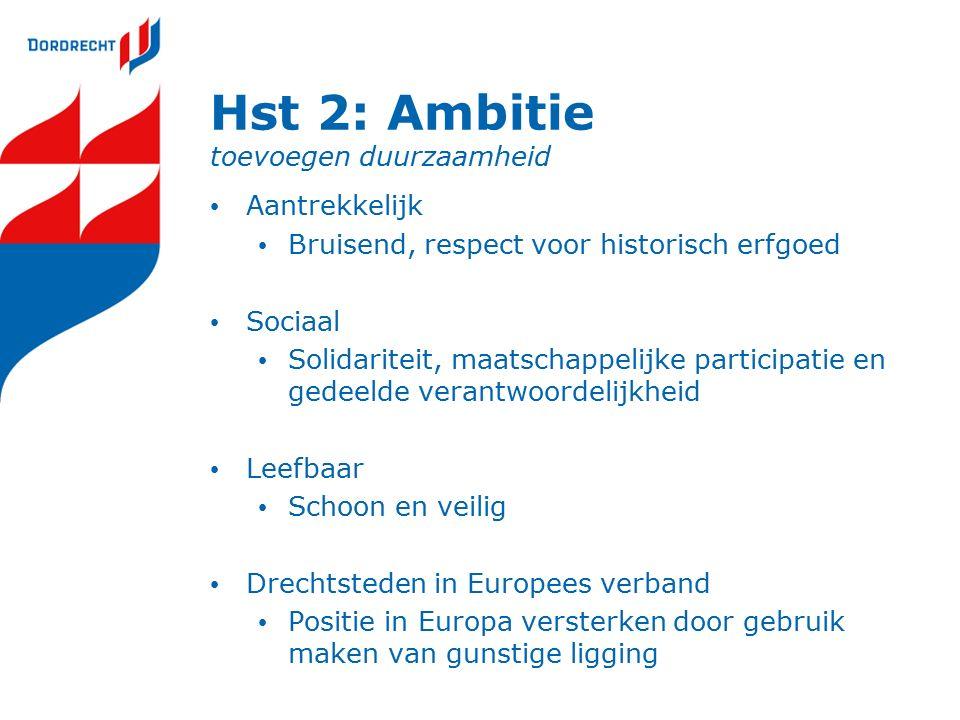 Hst 2: Ambitie toevoegen duurzaamheid Aantrekkelijk Bruisend, respect voor historisch erfgoed Sociaal Solidariteit, maatschappelijke participatie en gedeelde verantwoordelijkheid Leefbaar Schoon en veilig Drechtsteden in Europees verband Positie in Europa versterken door gebruik maken van gunstige ligging