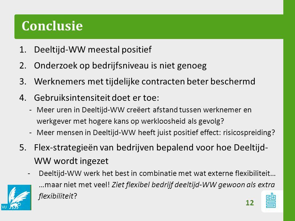 Conclusie 1.Deeltijd-WW meestal positief 2.Onderzoek op bedrijfsniveau is niet genoeg 3.Werknemers met tijdelijke contracten beter beschermd 4.Gebruik