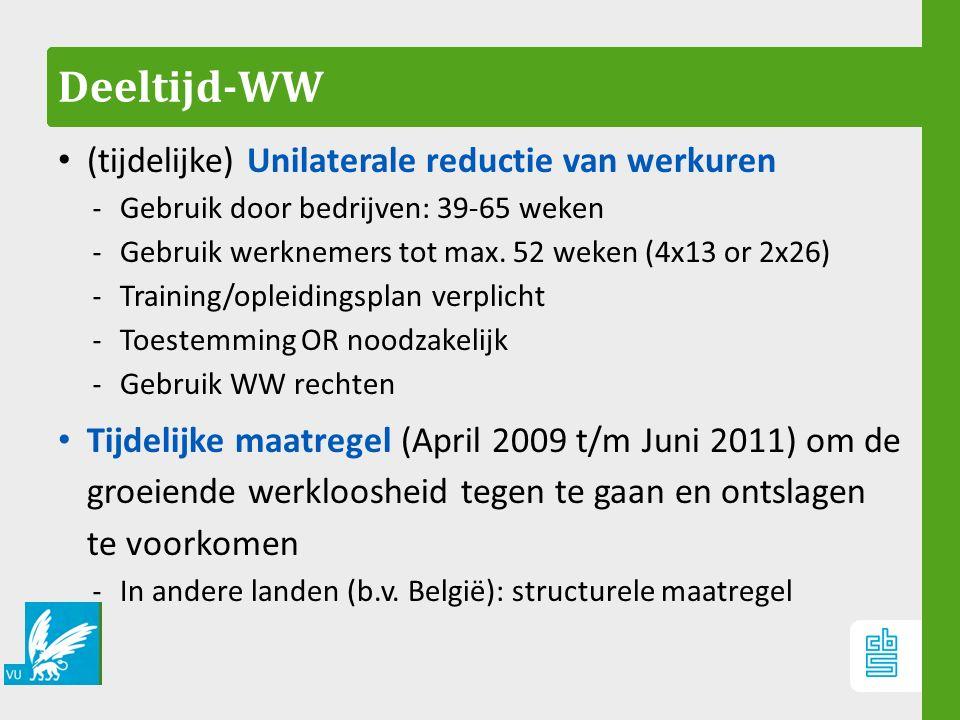 Deeltijd-WW (tijdelijke) Unilaterale reductie van werkuren ‐ Gebruik door bedrijven: 39-65 weken ‐ Gebruik werknemers tot max. 52 weken (4x13 or 2x26)
