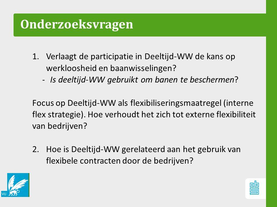 Onderzoeksvragen 1.Verlaagt de participatie in Deeltijd-WW de kans op werkloosheid en baanwisselingen? ‐ Is deeltijd-WW gebruikt om banen te bescherme