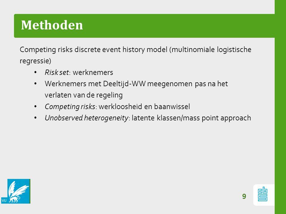 Methoden 9 Competing risks discrete event history model (multinomiale logistische regressie) Risk set: werknemers Werknemers met Deeltijd-WW meegenome