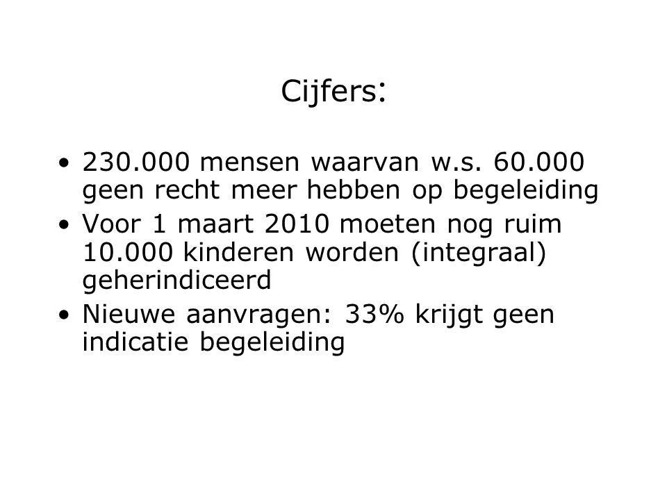 Cijfers : 230.000 mensen waarvan w.s. 60.000 geen recht meer hebben op begeleiding Voor 1 maart 2010 moeten nog ruim 10.000 kinderen worden (integraal