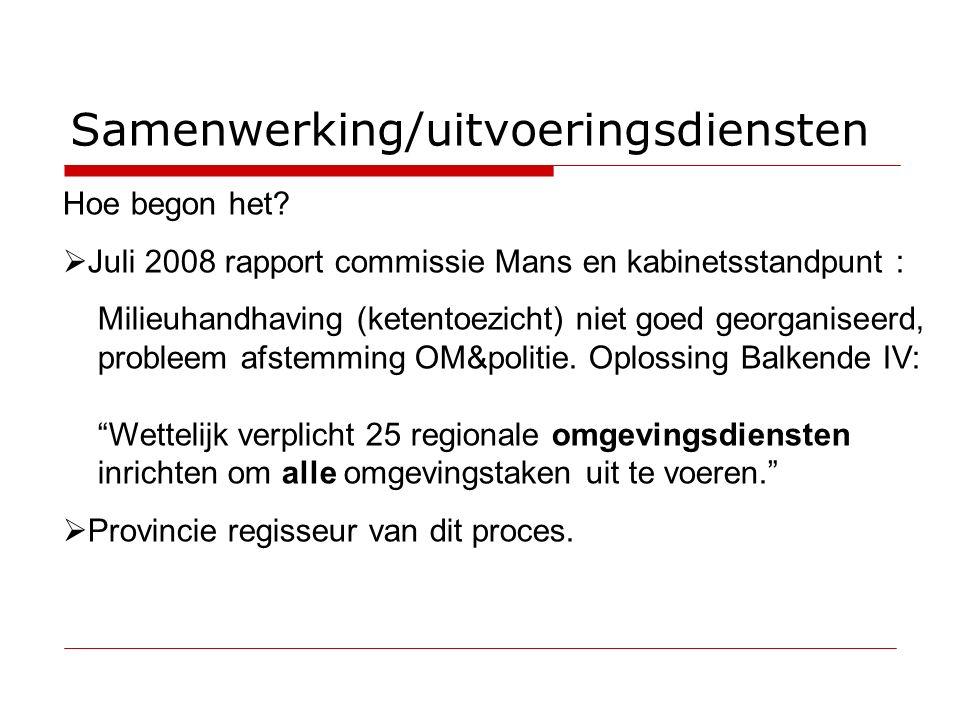 Samenwerking/uitvoeringsdiensten Hoe begon het.
