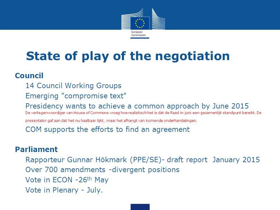 State of play of the negotiation Council  14 Council Working Groups  Emerging compromise text  Presidency wants to achieve a common approach by June 2015  De vertegenwoordiger van House of Commons vroeg hoe realistisch het is dat de Raad in juni een gezamenlijk standpunt bereikt.