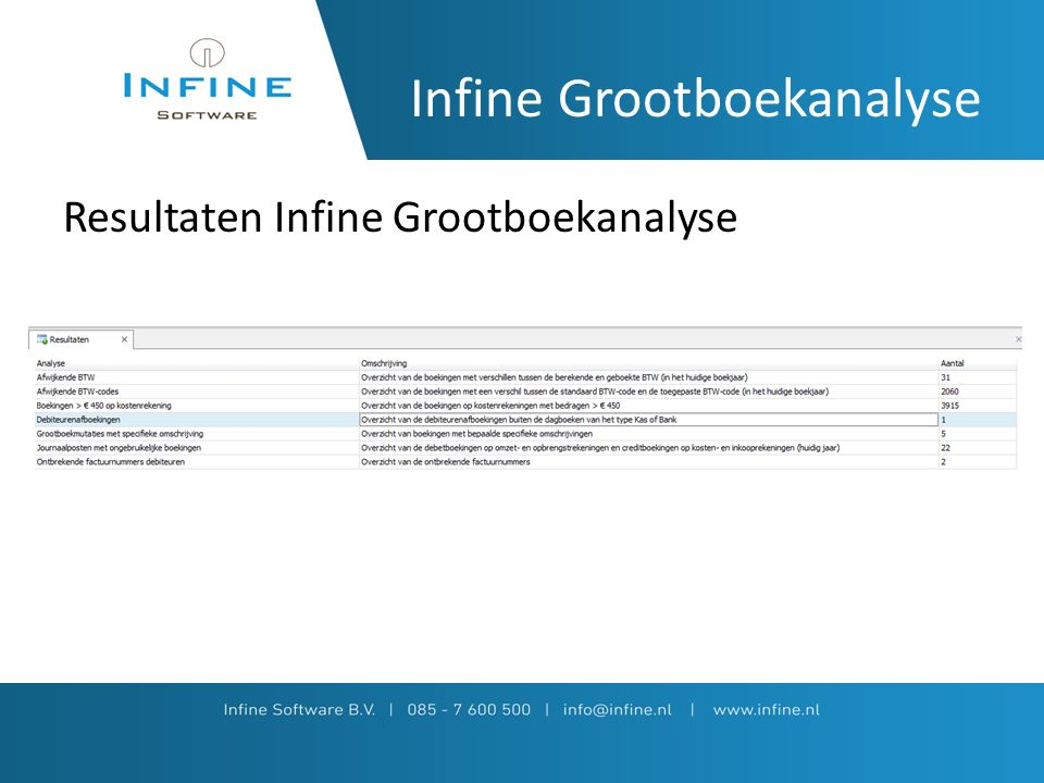Infine Grootboekanalyse Resultaten Infine Grootboekanalyse