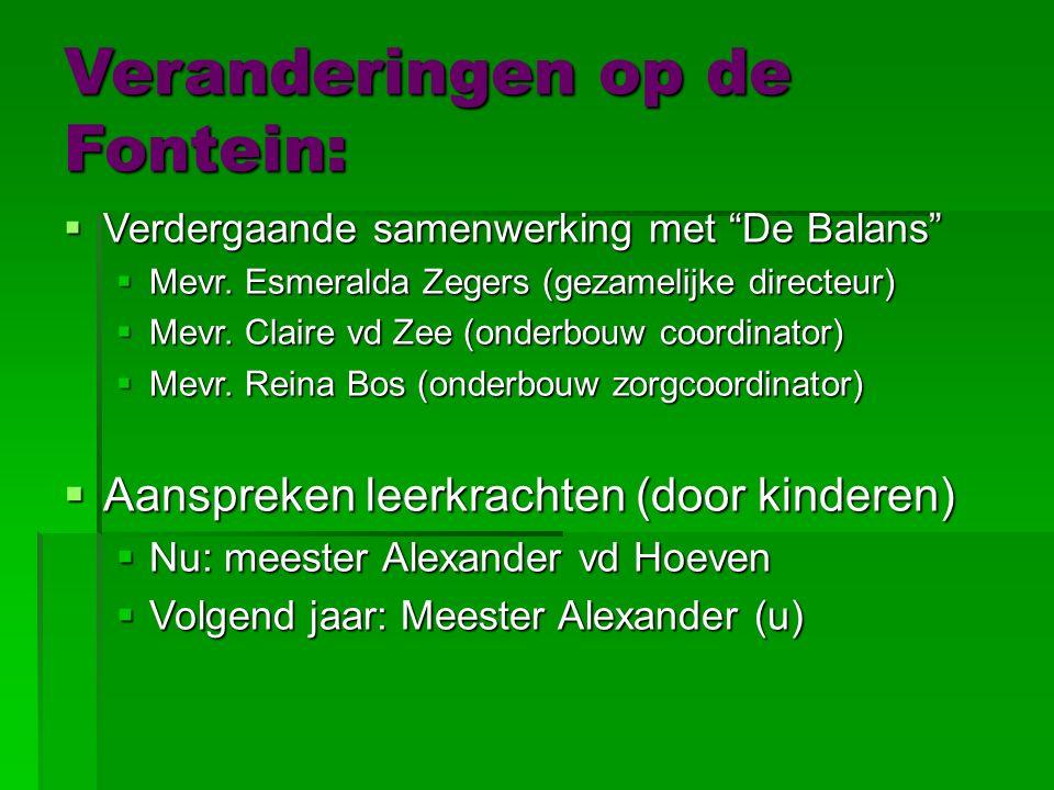 Veranderingen op de Fontein:  Verdergaande  Verdergaande samenwerking met De Balans  Mevr.
