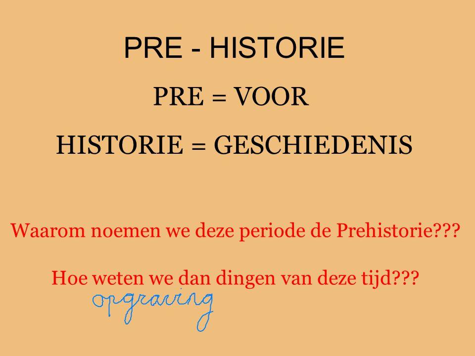 PRE - HISTORIE PRE = VOOR HISTORIE = GESCHIEDENIS Waarom noemen we deze periode de Prehistorie??? Hoe weten we dan dingen van deze tijd???