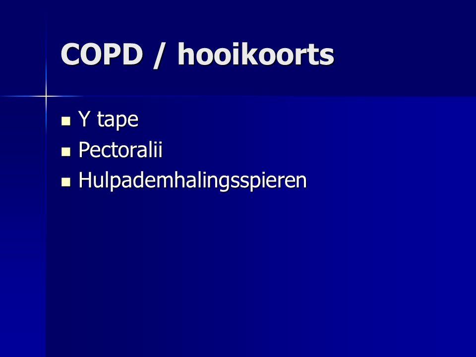 COPD / hooikoorts Y tape Y tape Pectoralii Pectoralii Hulpademhalingsspieren Hulpademhalingsspieren