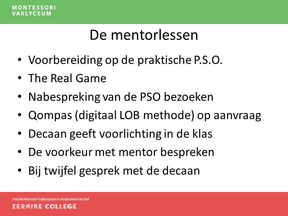 De mentorlessen Voorbereiding op de praktische P.S.O.