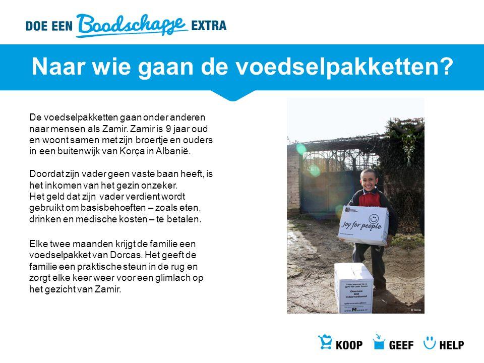 Naar wie gaan de voedselpakketten? De voedselpakketten gaan onder anderen naar mensen als Zamir. Zamir is 9 jaar oud en woont samen met zijn broertje