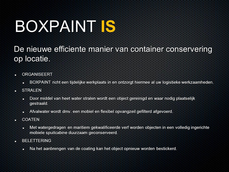 BOXPAINT BOXPAINT IS ORGANISEERT BOXPAINT richt een tijdelijke werkplaats in en ontzorgt hiermee al uw logistieke werkzaamheden.