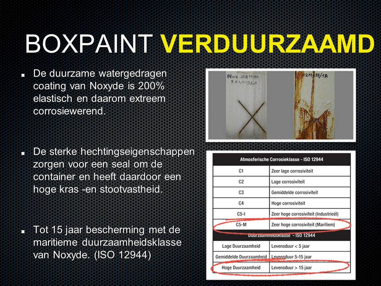 BOXPAINT BOXPAINT VERDUURZAAMD De duurzame watergedragen coating van Noxyde is 200% elastisch en daarom extreem corrosiewerend.