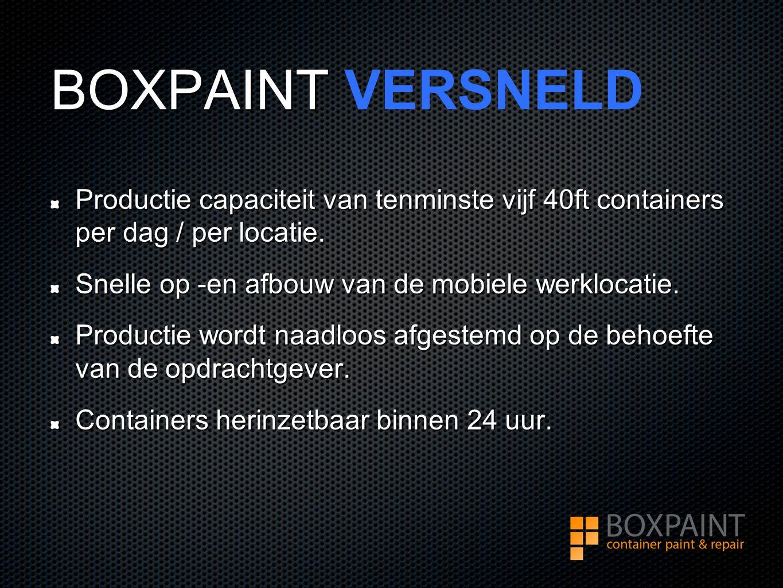 BOXPAINT BOXPAINT VERSNELD Productie capaciteit van tenminste vijf 40ft containers per dag / per locatie.