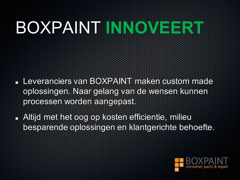 BOXPAINT BOXPAINT INNOVEERT Leveranciers van BOXPAINT maken custom made oplossingen.