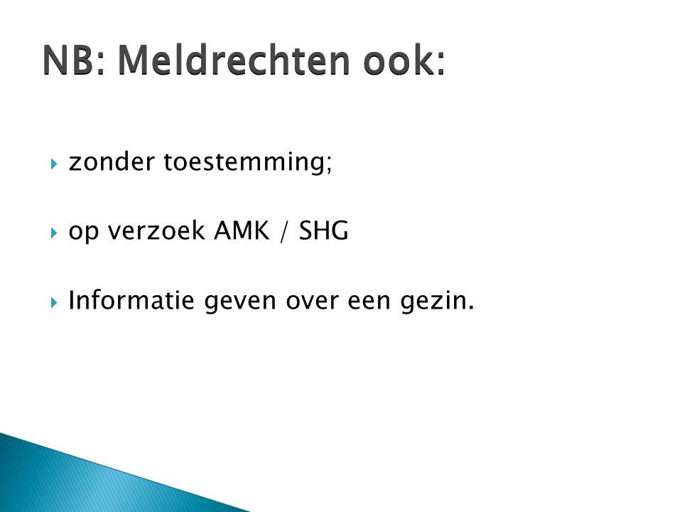  zonder toestemming;  op verzoek AMK / SHG  Informatie geven over een gezin.