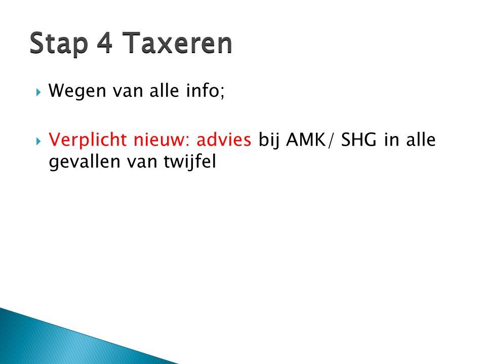  Wegen van alle info;  Verplicht nieuw: advies bij AMK/ SHG in alle gevallen van twijfel Stap 4 Taxeren