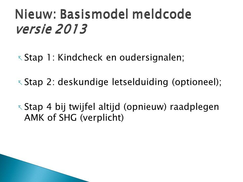  Stap 1: Kindcheck en oudersignalen;  Stap 2: deskundige letselduiding (optioneel);  Stap 4 bij twijfel altijd (opnieuw) raadplegen AMK of SHG (verplicht) Nieuw: Basismodel meldcode versie 2013