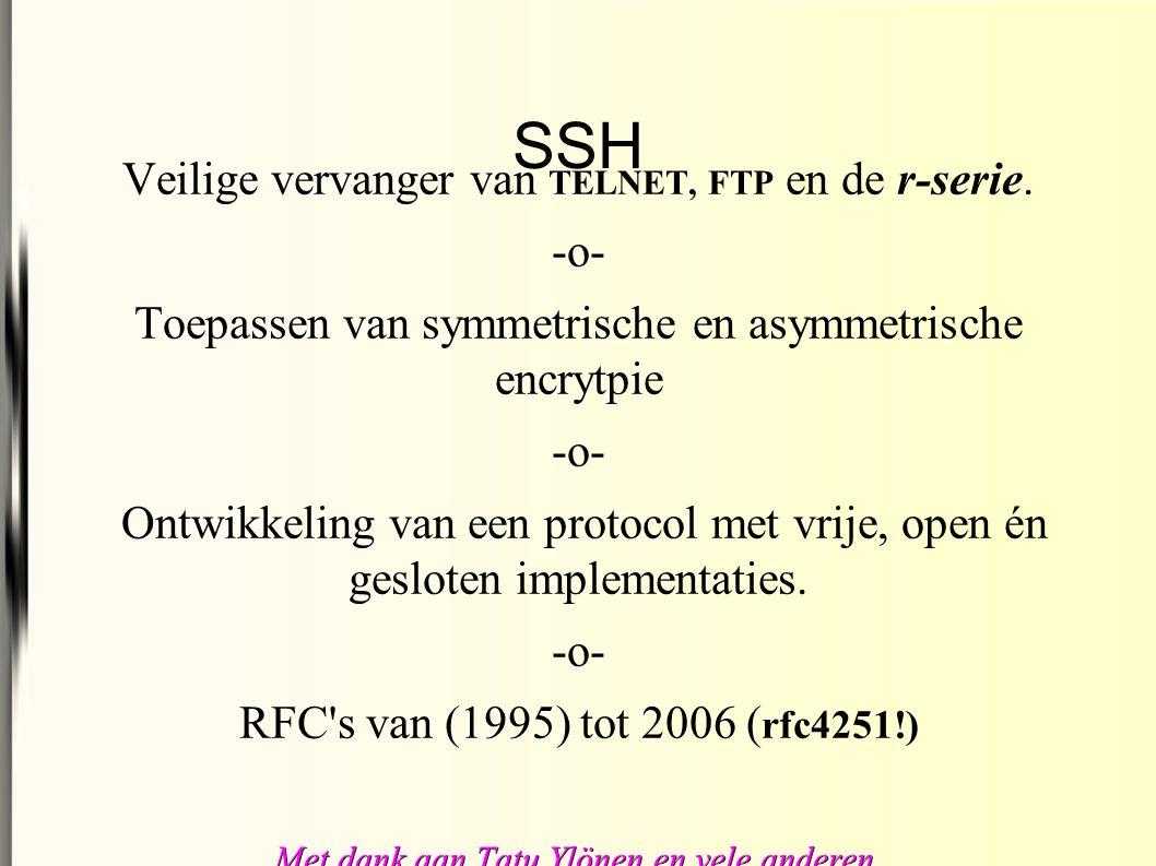 SSH Veilige vervanger van TELNET, FTP en de r-serie.