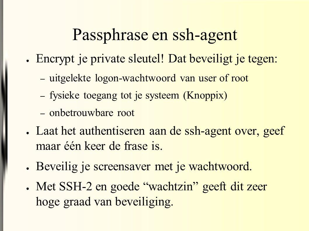 Passphrase en ssh-agent ● Encrypt je private sleutel.