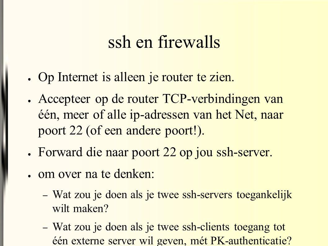 ssh en firewalls ● Op Internet is alleen je router te zien.