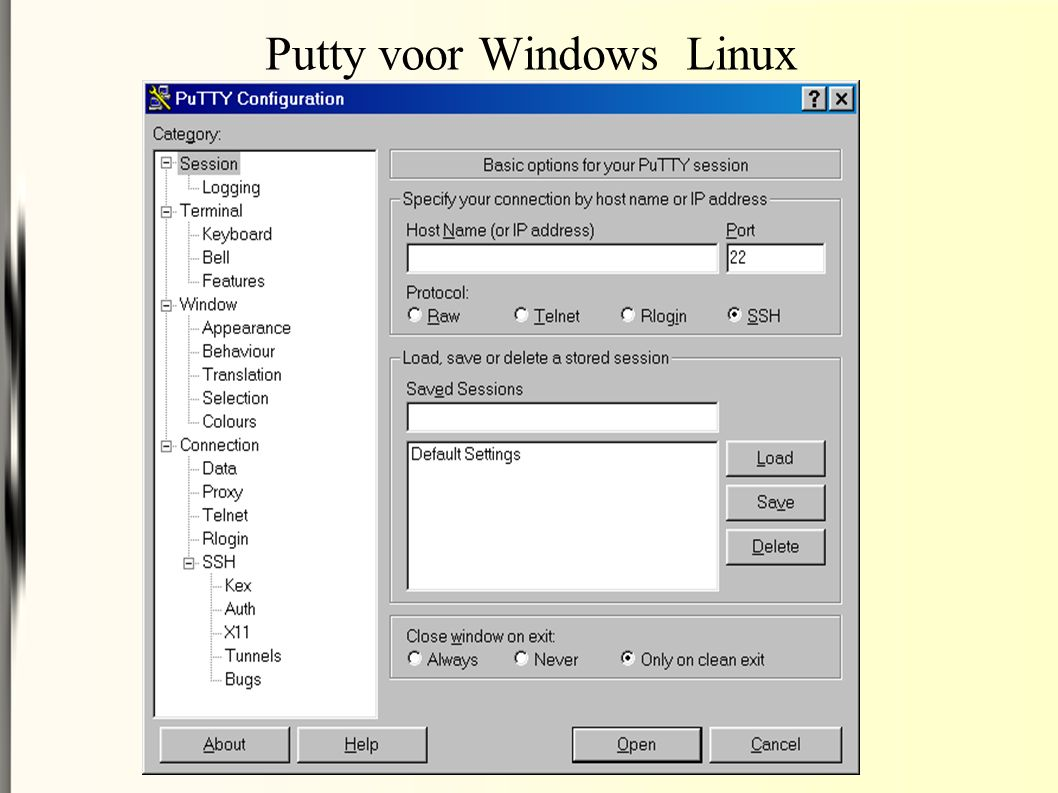 Putty voor Windows Linux