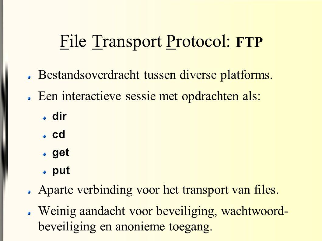 File Transport Protocol: FTP Bestandsoverdracht tussen diverse platforms.