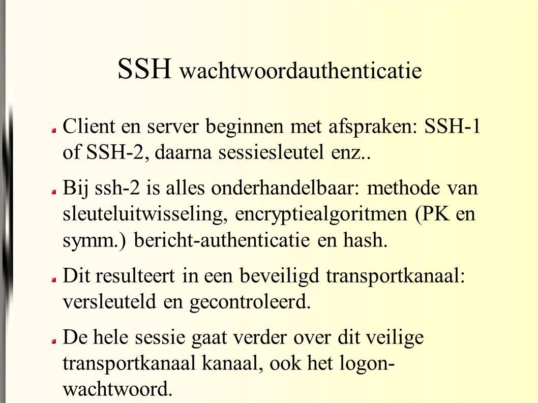 SSH wachtwoordauthenticatie Client en server beginnen met afspraken: SSH-1 of SSH-2, daarna sessiesleutel enz..
