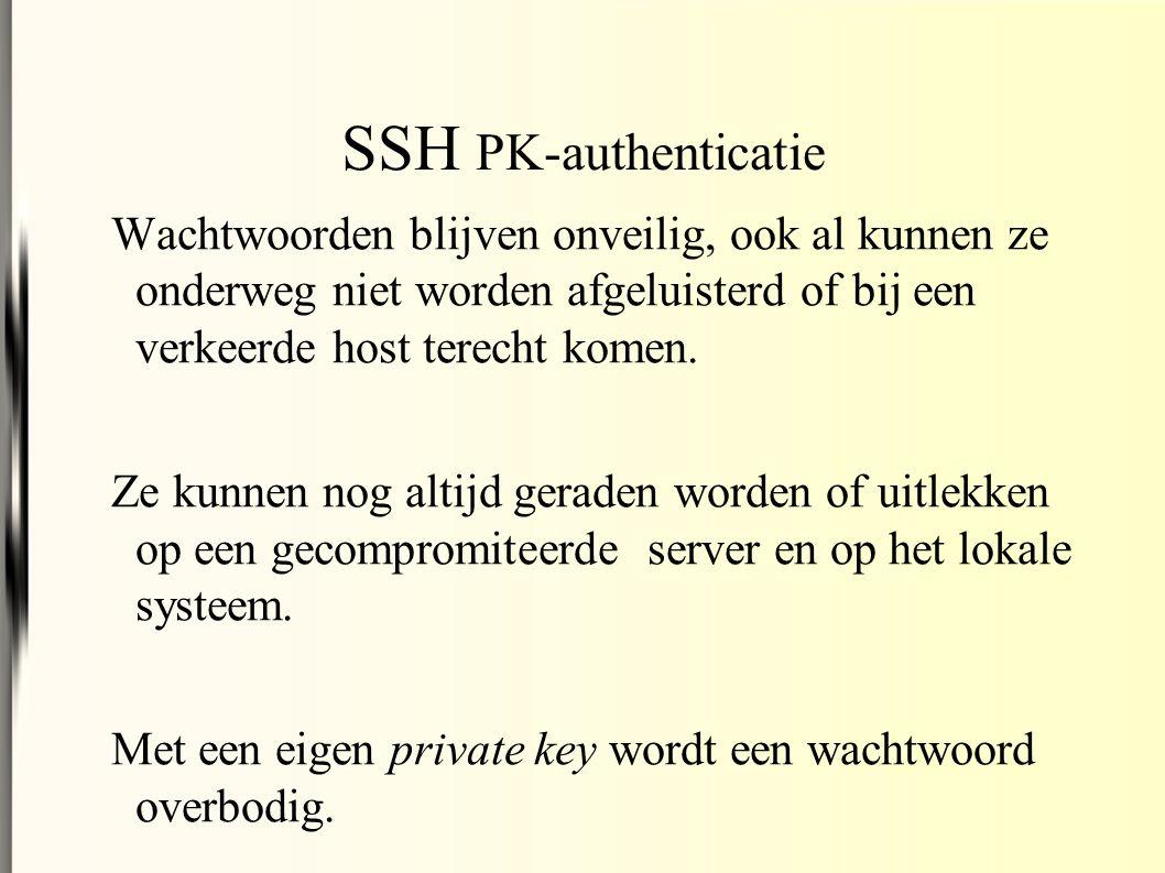 SSH PK-authenticatie Wachtwoorden blijven onveilig, ook al kunnen ze onderweg niet worden afgeluisterd of bij een verkeerde host terecht komen.