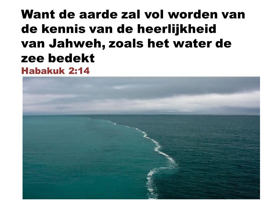 Want de aarde zal vol worden van de kennis van de heerlijkheid van Jahweh, zoals het water de zee bedekt Habakuk 2:14