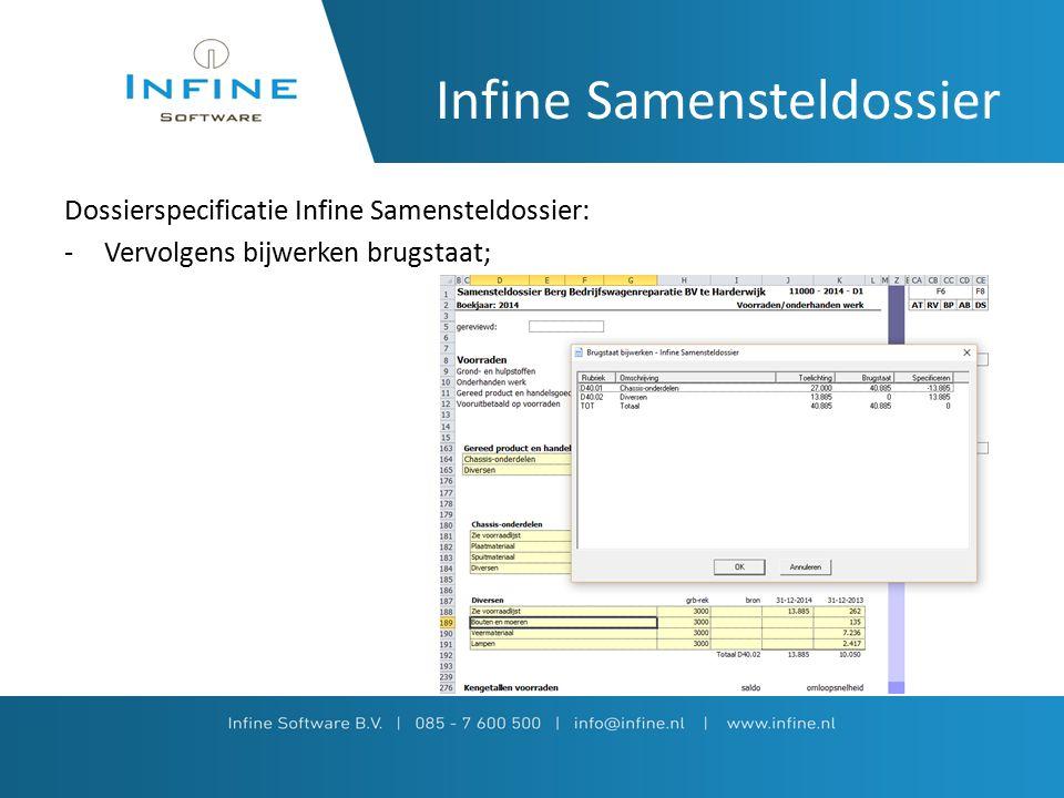 Infine Samensteldossier Dossierspecificatie Infine Samensteldossier: -Vervolgens bijwerken brugstaat;