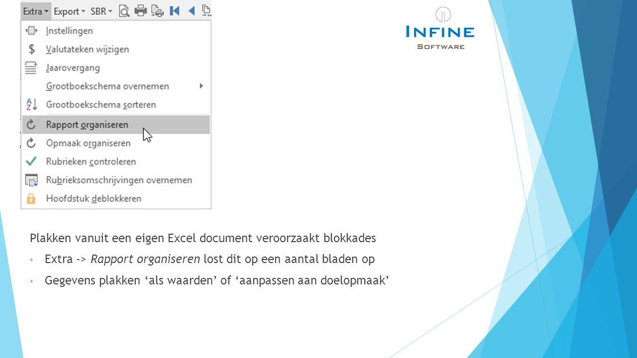 Plakken vanuit een eigen Excel document veroorzaakt blokkades Extra -> Rapport organiseren lost dit op een aantal bladen op Gegevens plakken 'als waarden' of 'aanpassen aan doelopmaak'