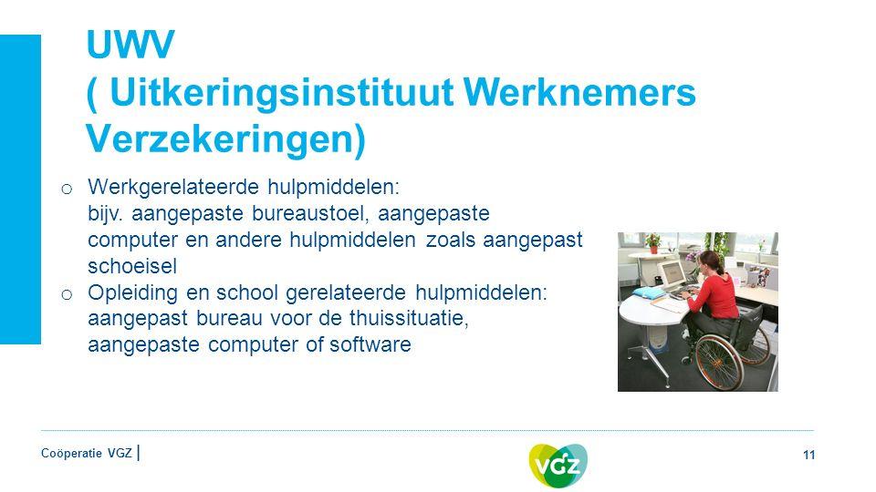 Coöperatie VGZ | UWV ( Uitkeringsinstituut Werknemers Verzekeringen) 11 o Werkgerelateerde hulpmiddelen: bijv.