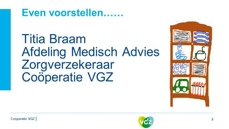 Coöperatie VGZ | Even voorstellen…… Titia Braam Afdeling Medisch Advies Zorgverzekeraar Coöperatie VGZ 2