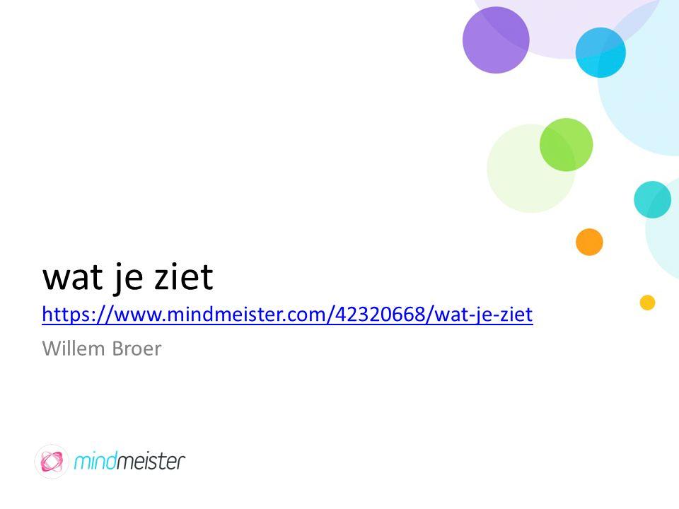 wat je ziet https://www.mindmeister.com/42320668/wat-je-ziet Willem Broer