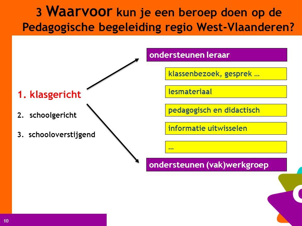 10 ondersteunen leraar klassenbezoek, gesprek … lesmateriaal pedagogisch en didactisch informatie uitwisselen ondersteunen (vak)werkgroep … 3 Waarvoor kun je een beroep doen op de Pedagogische begeleiding regio West-Vlaanderen.