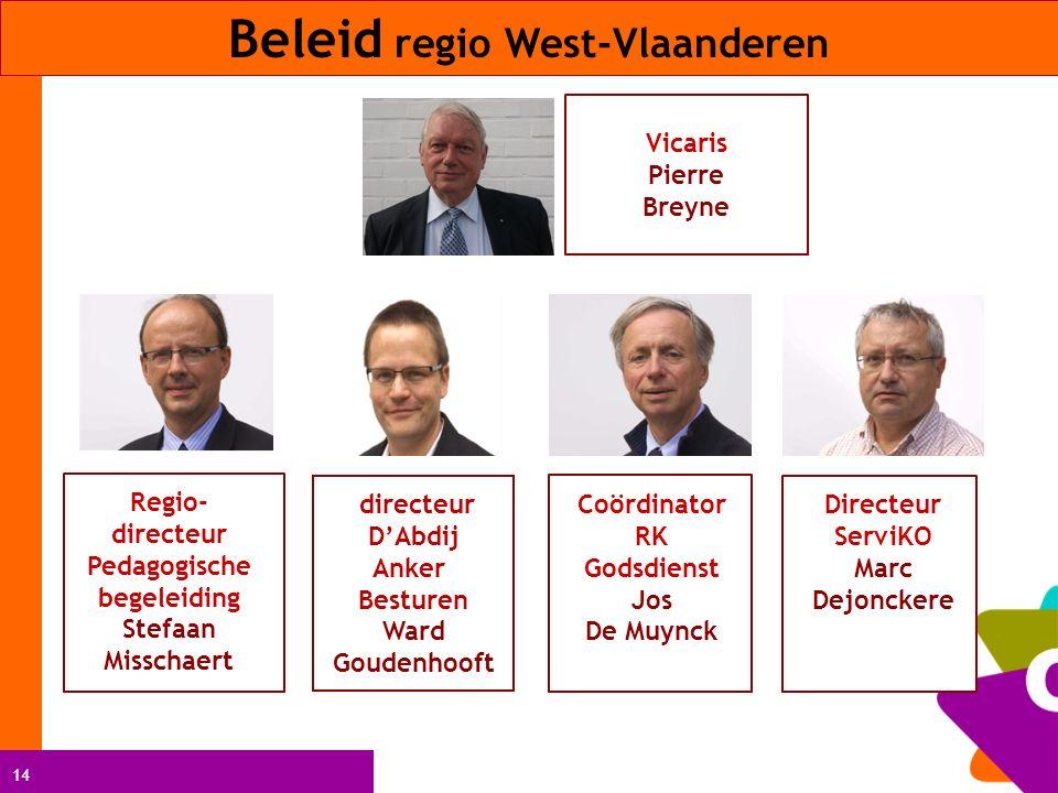 14 Beleid regio West-Vlaanderen Directeur ServiKO Marc Dejonckere Coördinator RK Godsdienst Jos De Muynck Vicaris Pierre Breyne Regio- directeur Pedag