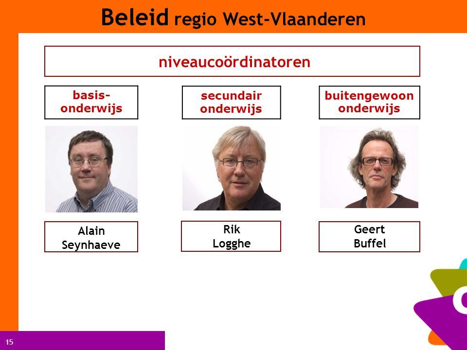 15 niveaucoördinatoren Geert Buffel Alain Seynhaeve Rik Logghe basis- onderwijs secundair onderwijs buitengewoon onderwijs Beleid regio West-Vlaanderen