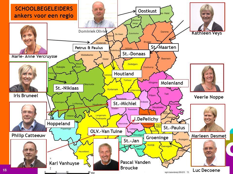 18 SCHOOLBEGELEIDERS ankers voor een regio Oostkust Houtland Dominiek Olivier Kathleen Veys St.-Maarten Molenland Veerle Noppe Marleen Desmet St.-Paul
