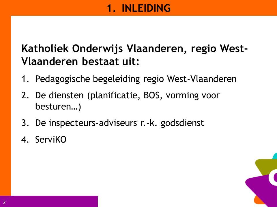 2 Katholiek Onderwijs Vlaanderen, regio West- Vlaanderen bestaat uit: 1.Pedagogische begeleiding regio West-Vlaanderen 2.De diensten (planificatie, BOS, vorming voor besturen…) 3.De inspecteurs-adviseurs r.-k.