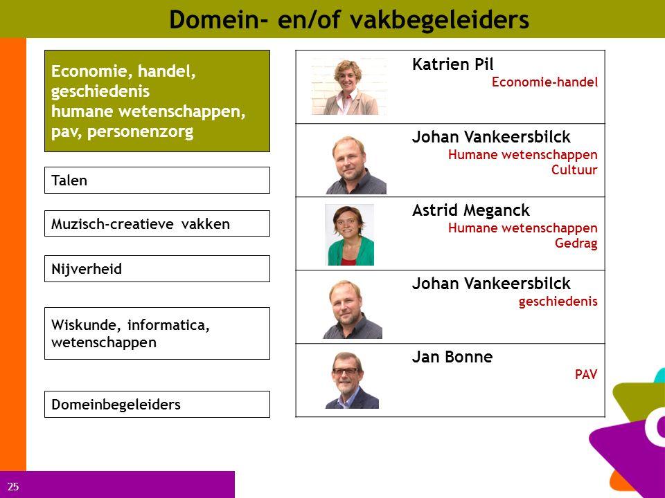 25 Domein- en/of vakbegeleiders Katrien Pil Economie-handel Johan Vankeersbilck Humane wetenschappen Cultuur Astrid Meganck Humane wetenschappen Gedra