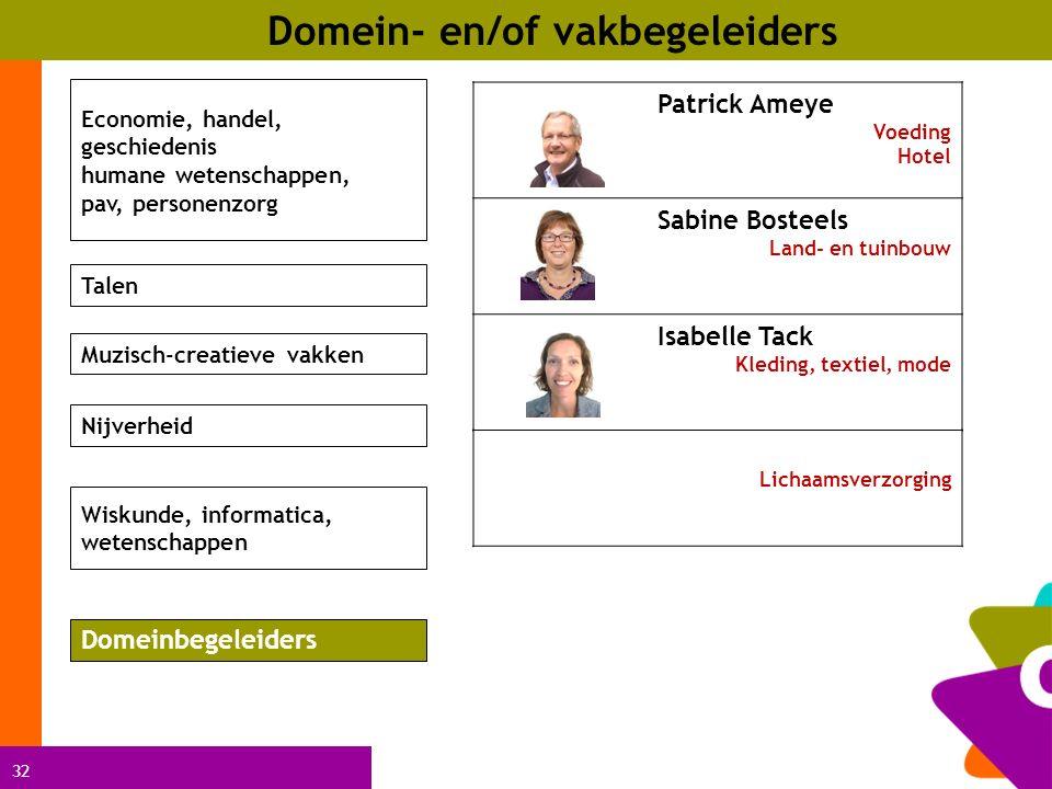 32 Domein- en/of vakbegeleiders Patrick Ameye Voeding Hotel Sabine Bosteels Land- en tuinbouw Isabelle Tack Kleding, textiel, mode Economie, handel, g