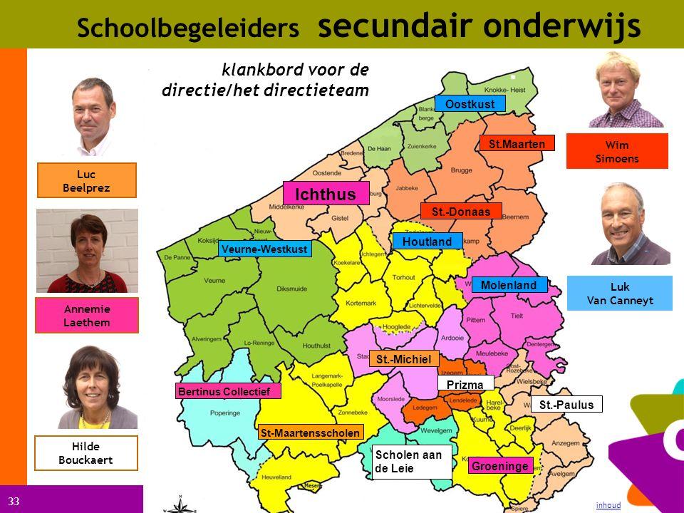 33 Schoolbegeleiders secundair onderwijs inhoud Ichthus St.-Paulus klankbord voor de directie/het directieteam St.-Michiel Scholen aan de Leie St-Maar