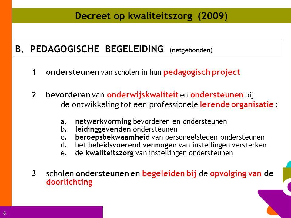 7 4onderwijsinnovaties aanreiken, stimuleren en ondersteunen 5nascholingsactiviteiten aanreiken en aansturen 6overleggen over onderwijskwaliteit met verscheidene onderwijsactoren 7opvolging en/of aansturen van ondersteuningsinitiatieven georganiseerd of gesubsidieerd door de Vlaamse Regering Decreet op kwaliteitszorg (2009)