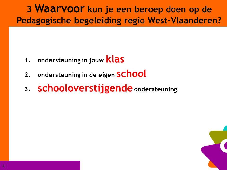 9 1. ondersteuning in jouw klas 2. ondersteuning in de eigen school 3. schooloverstijgende ondersteuning 3 Waarvoor kun je een beroep doen op de Pedag