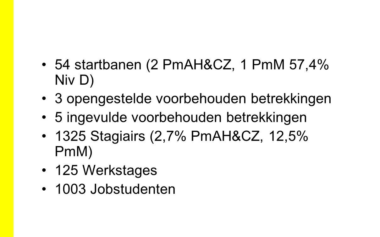 54 startbanen (2 PmAH&CZ, 1 PmM 57,4% Niv D) 3 opengestelde voorbehouden betrekkingen 5 ingevulde voorbehouden betrekkingen 1325 Stagiairs (2,7% PmAH&CZ, 12,5% PmM) 125 Werkstages 1003 Jobstudenten