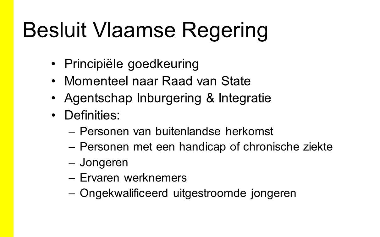 Besluit Vlaamse Regering Principiële goedkeuring Momenteel naar Raad van State Agentschap Inburgering & Integratie Definities: –Personen van buitenlan