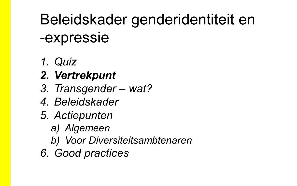 Beleidskader genderidentiteit en -expressie 1.Quiz 2.Vertrekpunt 3.Transgender – wat? 4.Beleidskader 5.Actiepunten a)Algemeen b)Voor Diversiteitsambte