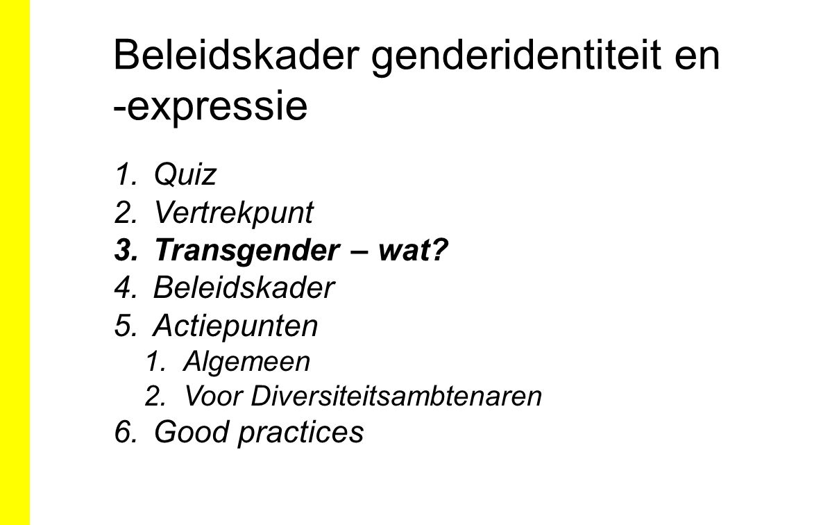 Beleidskader genderidentiteit en -expressie 1.Quiz 2.Vertrekpunt 3.Transgender – wat? 4.Beleidskader 5.Actiepunten 1.Algemeen 2.Voor Diversiteitsambte